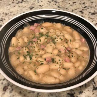 Bowl of bean soup for the family dinner