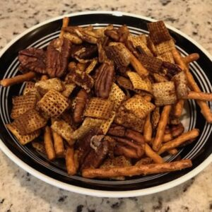Bowl of gluten-free Chex party mix