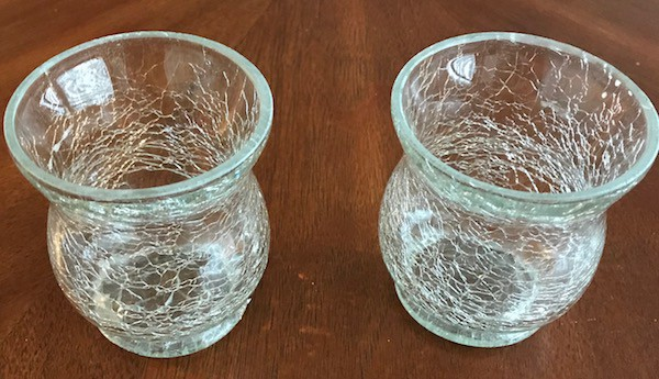 2 clear candleholders with crackle finish
