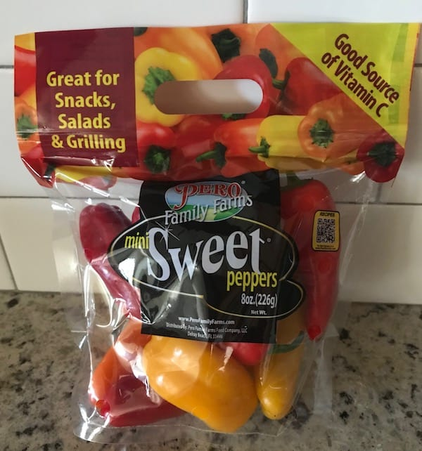Bag of red, orange, and yellow mini sweet peppers