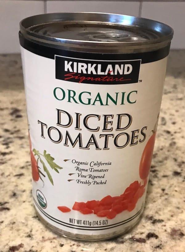 Can of organic diced tomatoes