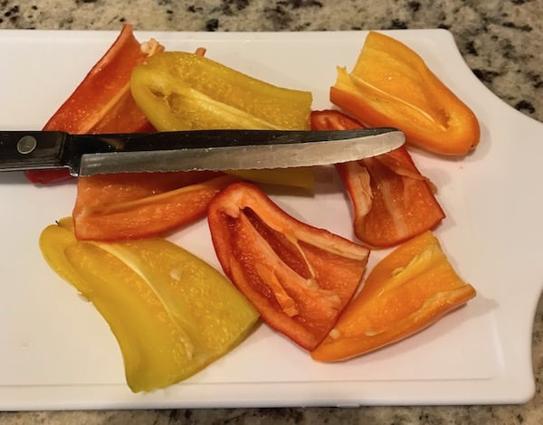 Sweet peppers cut in half lengthwise