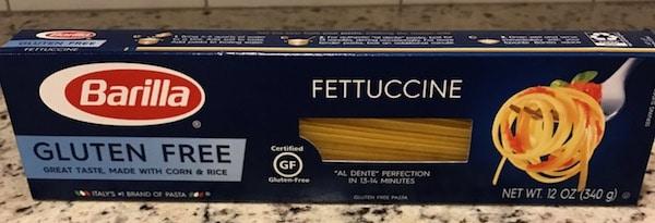 Box of uncooked gluten-free fettuccine