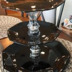 Black and clear glass three-tiered serving platter