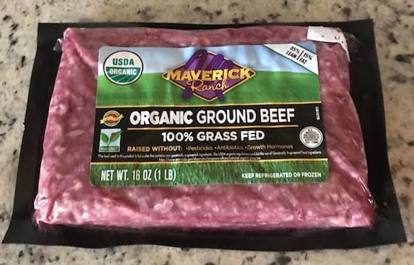 Package of organic grass-fed ground beef