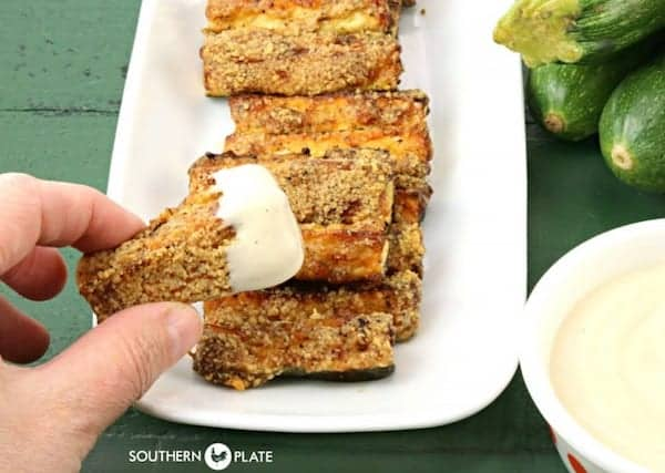 Zucchini fries with dip is a popular party food idea.