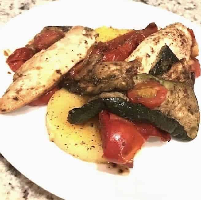 Polenta with chicken, eggplant, and tomatoes