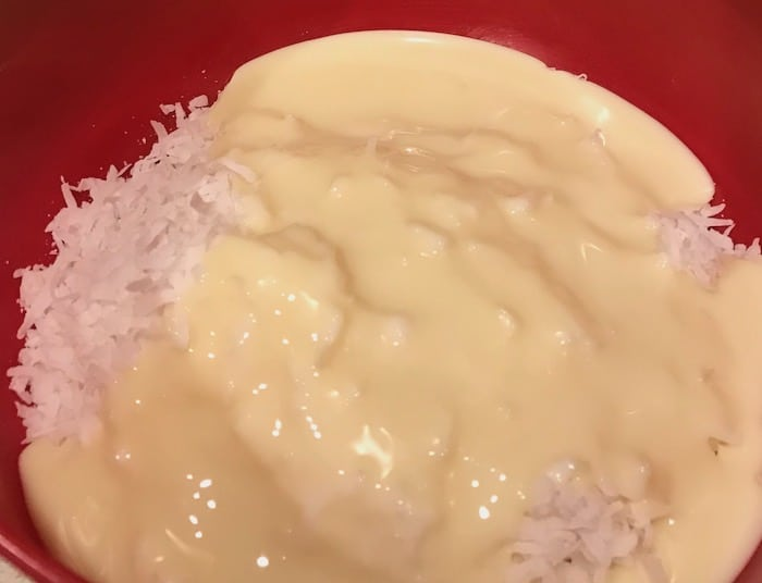 Shredded coconut and sweetened condensed milk in a bowl.