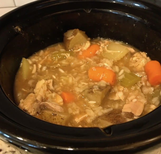 Chicken stew with vegetables in a Crockpot