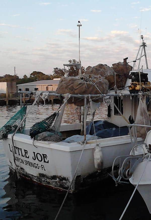 "Sponge boat named ""Little Joe"" on the water at the Tarpon Springs Sponge Docks"