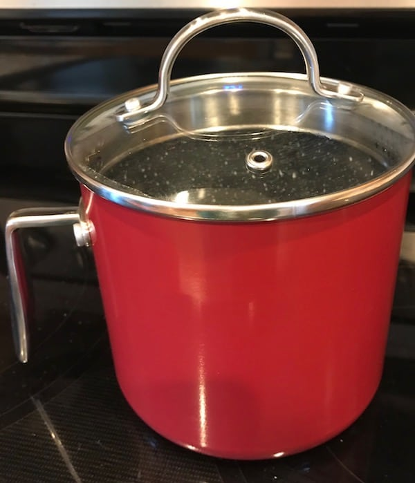 Red saucepan with the lid