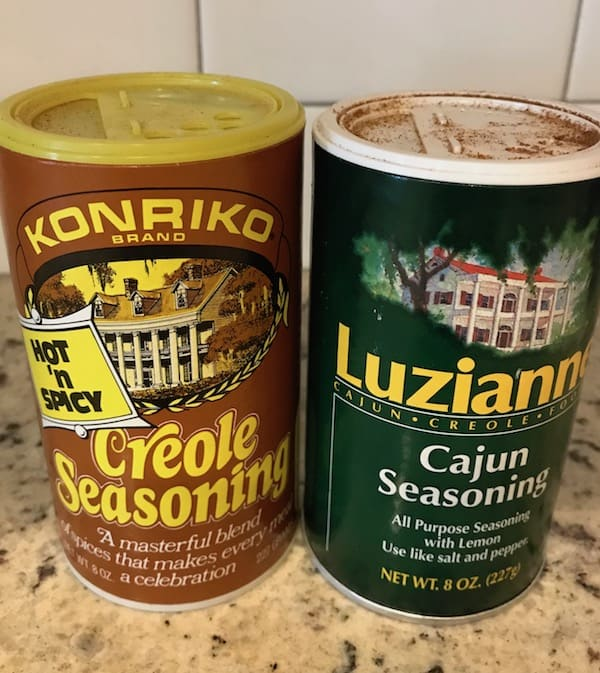 Containers of creole and Cajun seasoning
