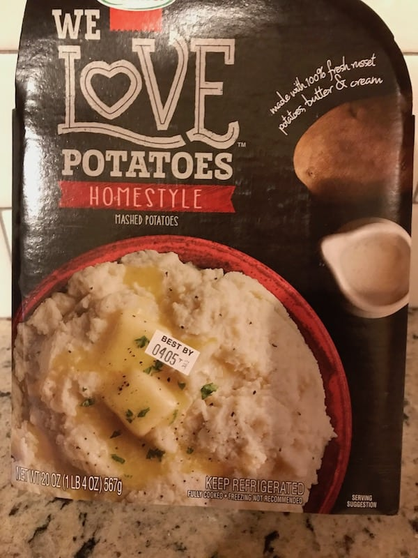 Package of prepared mashed potatoes