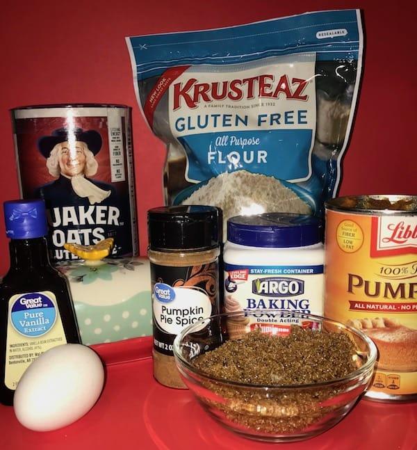 Gluten-free flour, oats, pumpkin, baking powder, pumpkin pie spice, vanilla extract, egg, and brown sugar