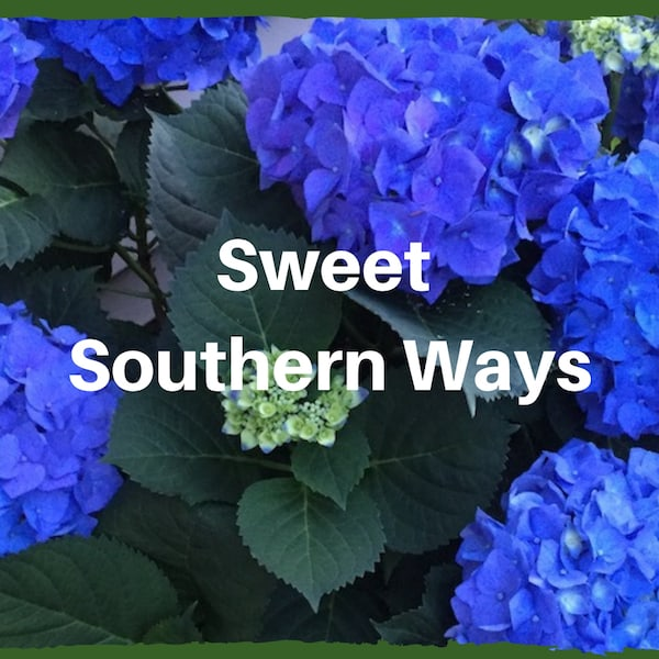 "Blue hydrangea with text ""Sweet Southern Ways"""