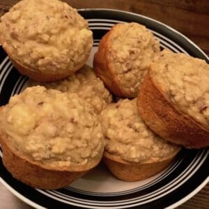 Bowl of banana nut muffins