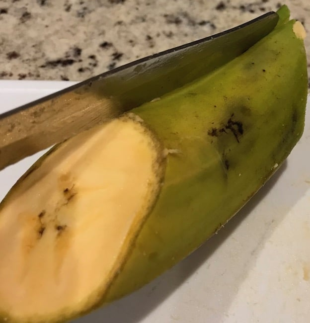 Slice the plantain skin lengthwise.