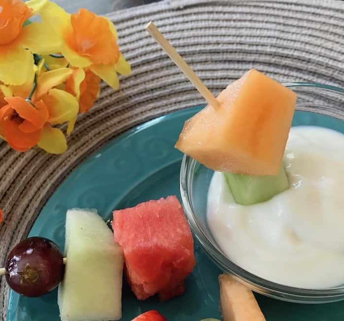 Fruit kabob dipped in vanilla yogurt