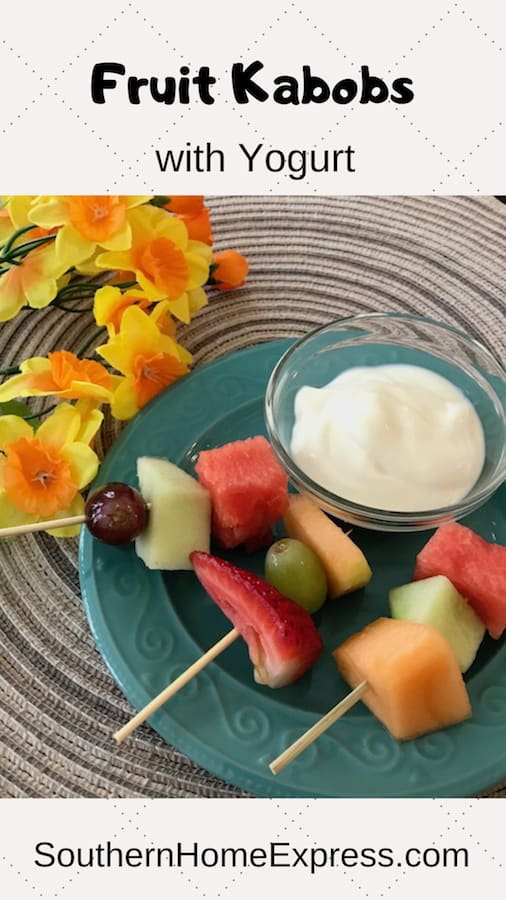 Fruit kabobs are the perfect snack. Serve them with yogurt to dip.