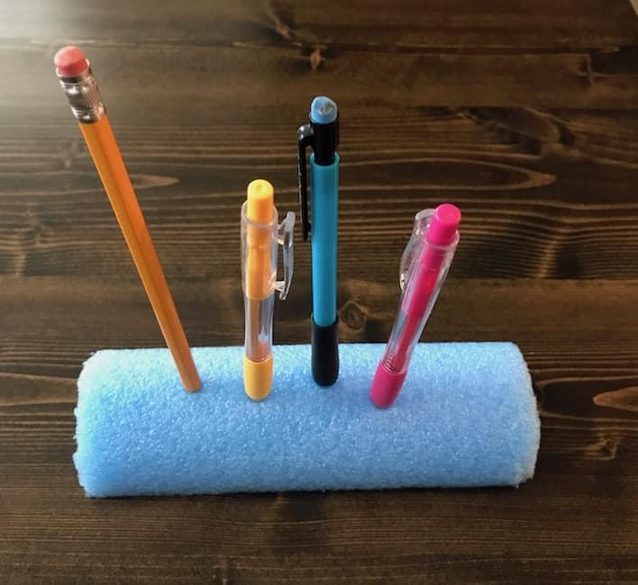 Pool noodle pencil holder