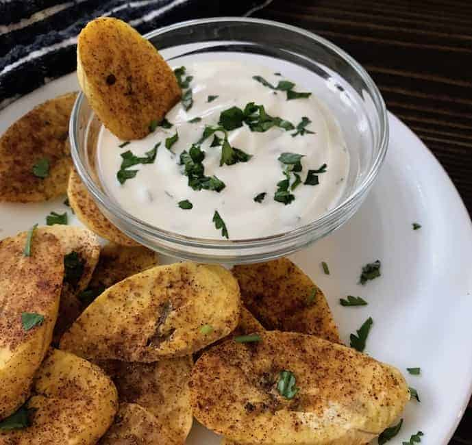 Oven Fried Plantain Chips with Zesty Dip