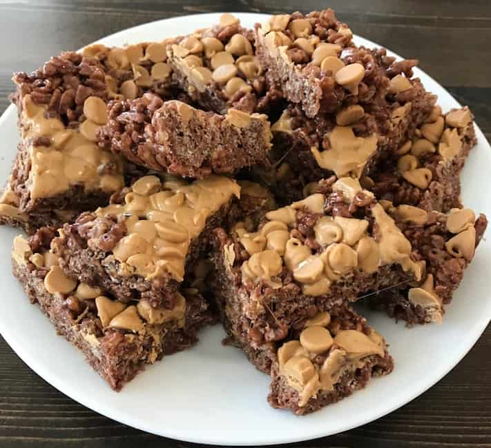 Plate of Cocoa Krispie treats with peanut butter