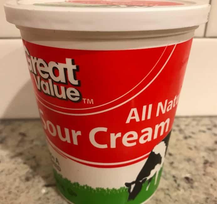 Container of sour cream
