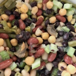 Mixture of 5 beans, mushrooms, and celery