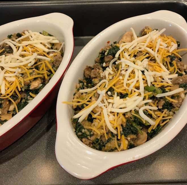Sausage and Kale Bake with Cheese