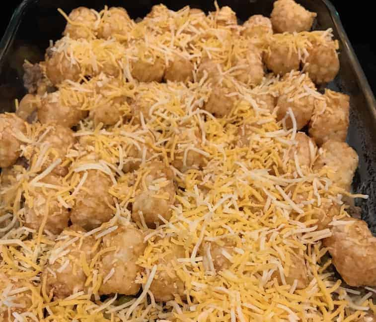 Hamburger Tater Tot casserole with cheese