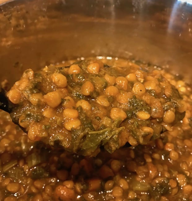 Instant pot filled with cooked lentil soup.
