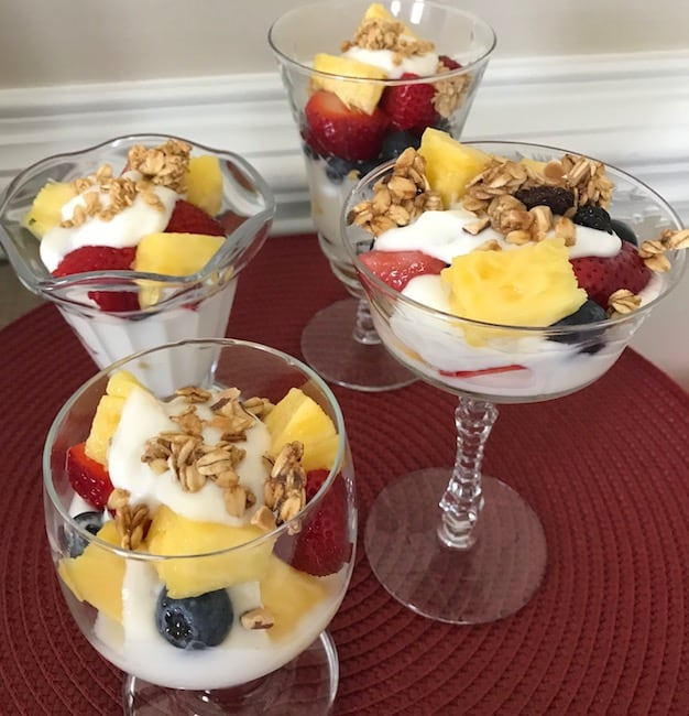 This fresh fruit and yogurt parfait is the ideal breakfast or dessert. Serve it in a clear glass dish for visual impact.