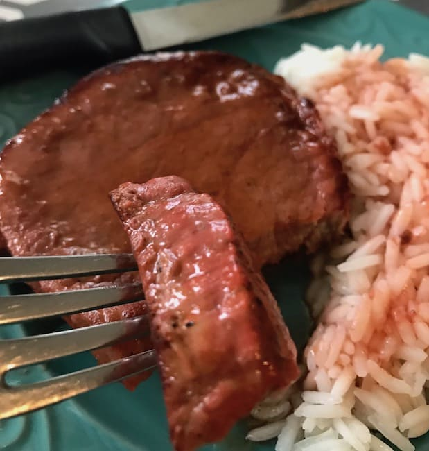 Swiss steak and rice with gravy