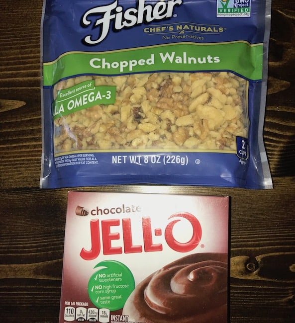 Package of chopped walnuts and pack of chocolate pudding mix