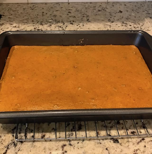 Cooked pumpkin bars before being cut