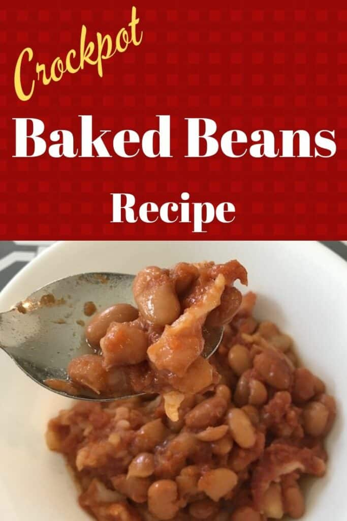Crockpot baked beans in a bowl