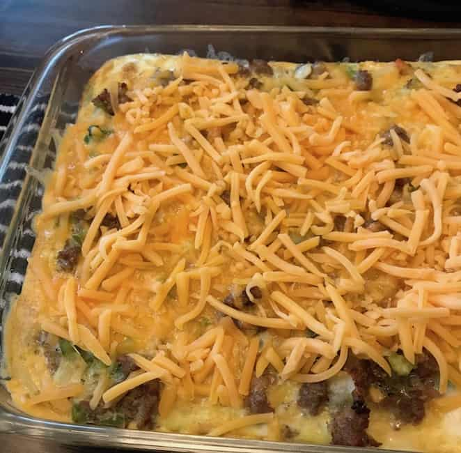 Cheese on top of the casserole.