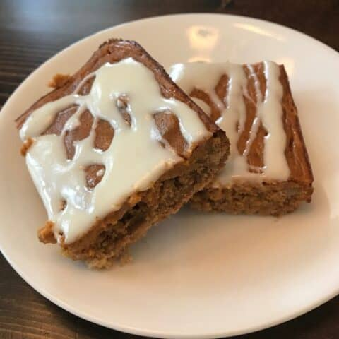 2 pumpkin bars with drizzled icing