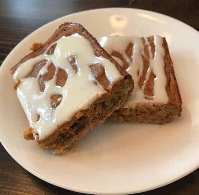 2 pumpkin bars on a plate