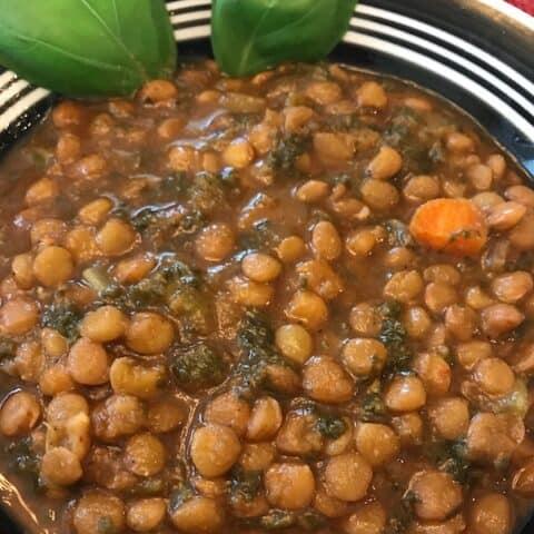 Instant Pot lentil soup in a bowl