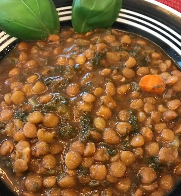 Instant Pot lentil soup in a bowl