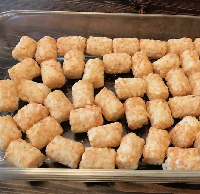 Line your casserole dish with tater tots.