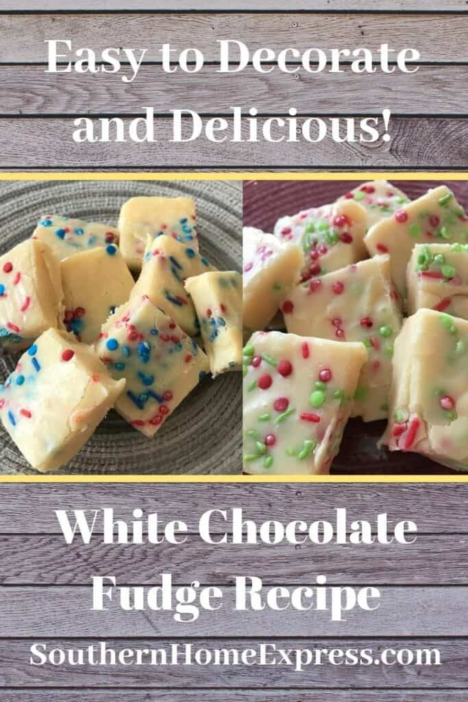 Easy to decorate and delicious, this white chocolate fudge is also fun to make.