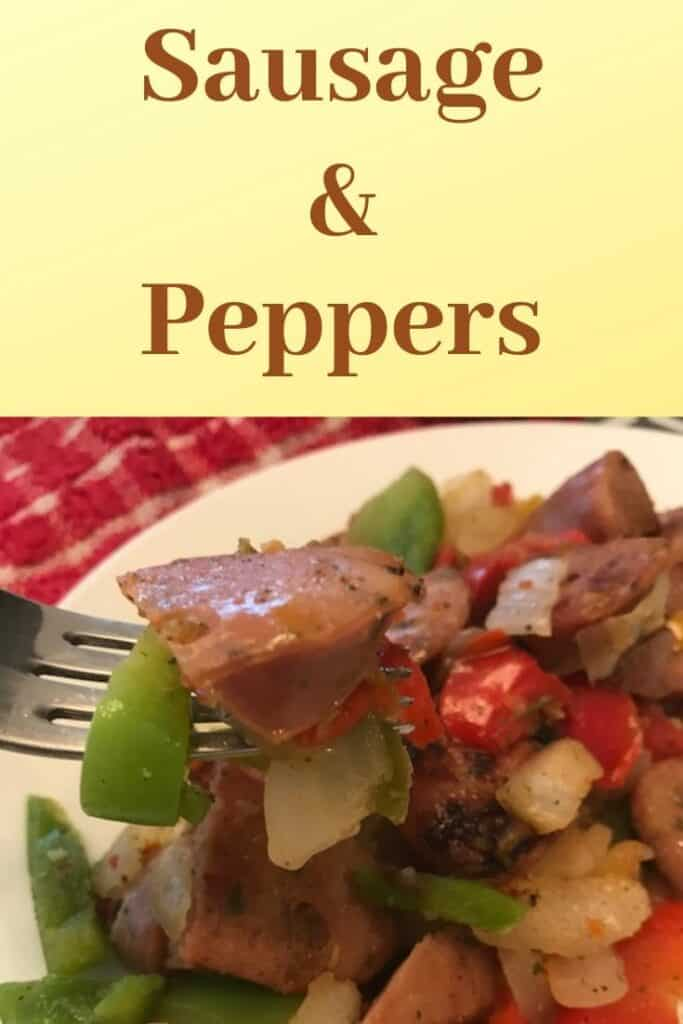 Plate of sausage and peppers