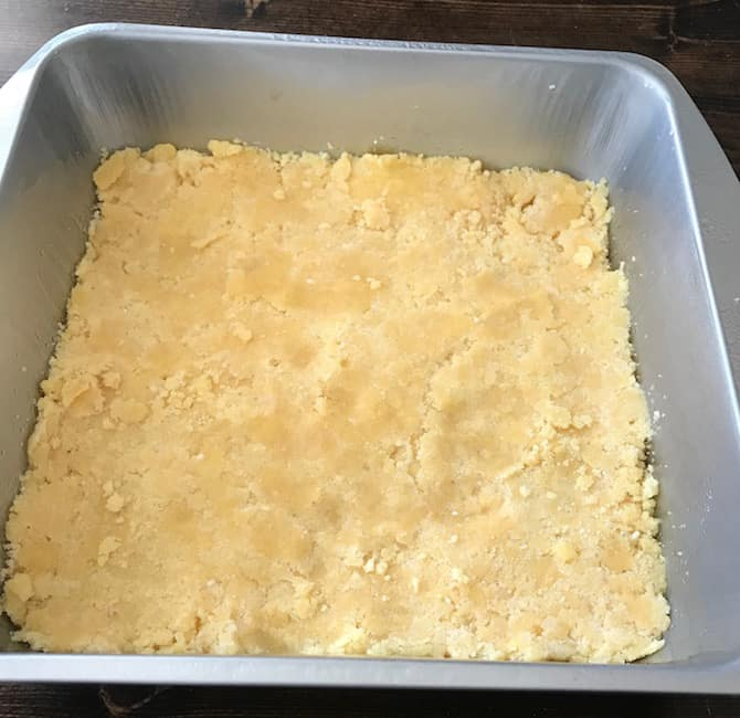 Bottom crust in the pan before baking