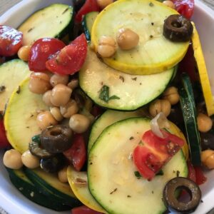 This zucchini and squash salad is loaded with nutrients, flavor, and color.