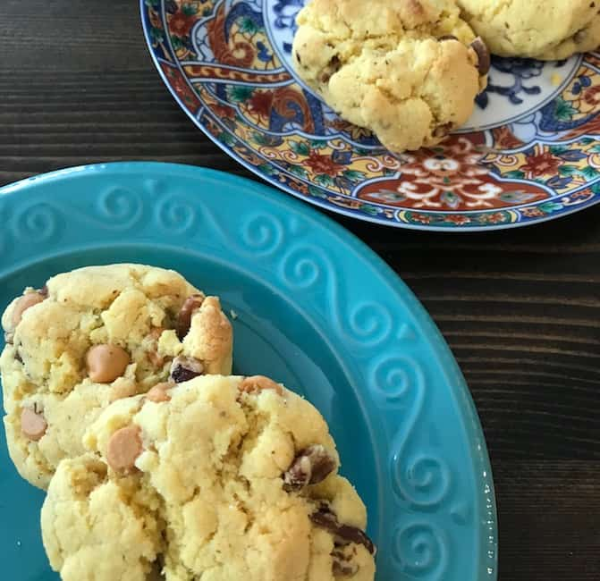 Two plates of butterscotch pecan cookies
