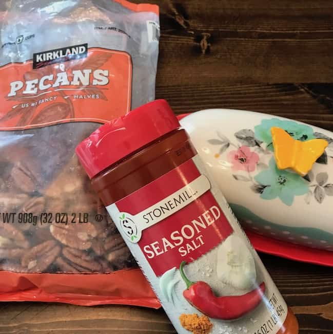 Bag of pecan halves, butter, and seasoned salt