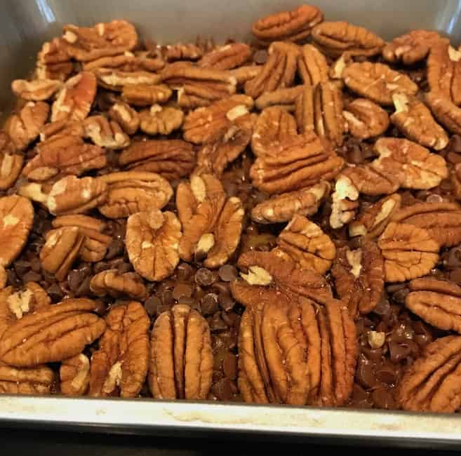 Layer of pecans over chocolate chips