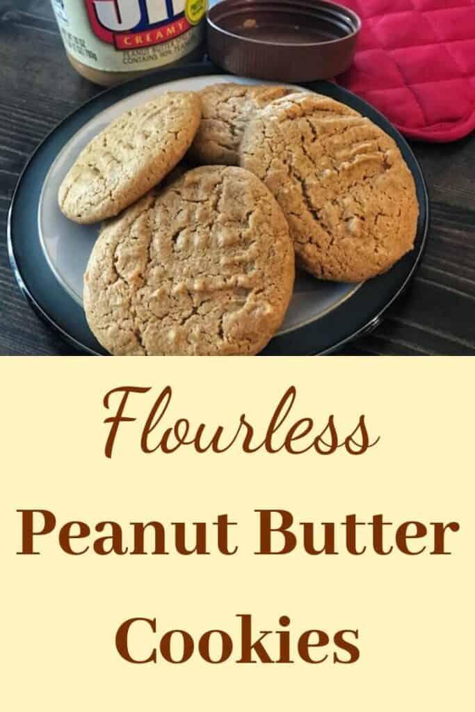 Flourless peanut butter cookies on a plate